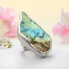 JeGem Sterling Silver Top Fire Labradorite Ring Jewelry « SavesRus