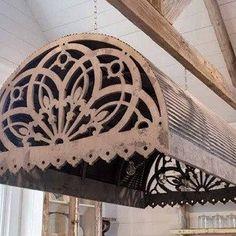 Aged Tin And Wood Pendant Awning