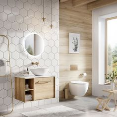 For a bathroom interior that evokes a sense of calm and peace, opt for the natural wood finish of our wall-hung units paired with the modern MPRO or Wisp collection. Black Bathroom Taps, Spa Like Bathroom, Small Bathroom, Master Bathroom, Washroom, Bad Inspiration, Bathroom Inspiration, Modern Bathroom Design, Bathroom Interior Design