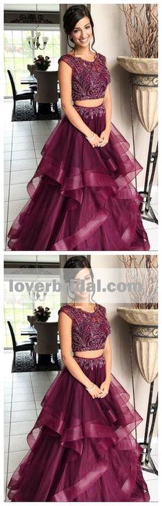 Purple Two Pieces Bateau A-line Long Evening Prom Dresses, 17560