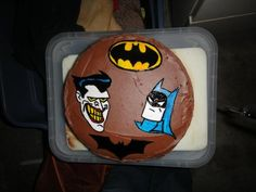#batman #cake i painted the joker and batman