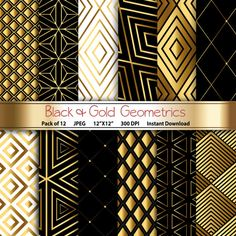 Black & Gold Geometrics: Geometric Digital Paper Pack by GoneDigital