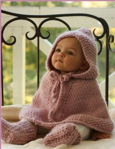 Knitted DROPS Poncho w/ Hood and Booties  ~ Free Pattern