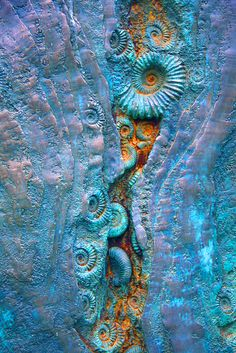 .coast ,sea life fabric textile art inspiration the ammonites fled the sea,,,hago un muro con eso,,,