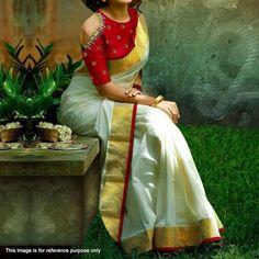 Buy White Chanderi Cotton Saree at Get latest casual printed sarees for womens at peachmode. Kerala Saree Blouse, Saree Dress, Indian Sarees, Red Blouse Saree, Kerla Saree, Set Saree Kerala, Cold Shoulder Saree Blouse, Lehenga, Onam Saree