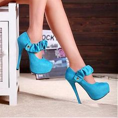 Pretty Suede Draped Blue Round Closed Toe Stiletto Super High Heel Mary Jane Pumps