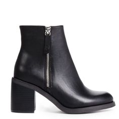 Black Ankle Boots A brand new, never worn, black ankle boot with zipper detail on both sides of each shoe. The heel is a thick, approximately 3 in heel, great for walking or dancing! They give a cute edge to any outfit. JustFab Shoes Ankle Boots & Booties