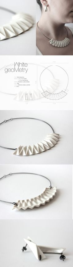 "Minji Jung, ""White Geometry"", geometric modern ceramic jewelry, ""The motivation of my work is to begin from making small things for life. From the origami come the inspiration for this necklace and earrings, made of porcelain and silver in collaboration with Marta Ortí_ jewelry designer. Year: 2013 Material: Porcelain & silver. $295"