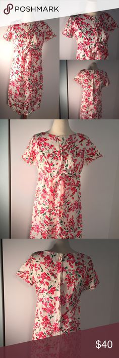 """Vintage Valentines Day Silk Tulip Sheath Dress M Gorgeous vintage sheath dress perfect for Valentine's Day!! Short sleeved with lovely pink and red tulip pattern. No inside tags- material definitely feels like silk and fits like a medium. Drawstring waist band. Great vintage condition. Pit to pit -18"""" waist undoubled- 17"""" hip- 18"""" length- 38"""" Vintage Dresses Mini"""