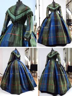 Afternoon dress ca. 1860. Plaid silk taffeta trimmed with black silk fringe embroidered with jet beads  tassels. Druout Auctions via Olia i Klod blog