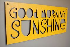 "Beautiful gray bathroom makeover- love this ""Good Morning Sunshine"" and the little chalkboard by the sink for writing messages."