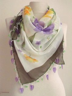 Square OLIVE GREENCREAM Traditional Turkish Oya Scarf by asuhan, $20.00