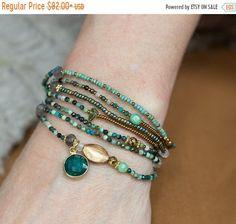 Tanzanite Bracelet, Emerald Bracelet, Hematite Bracelet, Bracelet Wrap, Beaded Wrap Bracelets, Seed Bead Bracelets, Amethyst Armband, Boho Jewelry, Gemstone Jewelry