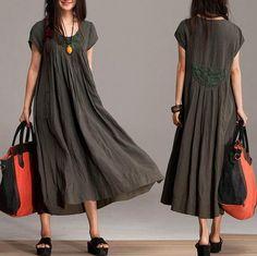 Comfort+Linen+Maxi+Dress+/+Unique+Summer+crochet+army+by+dreamyil,+$108.00