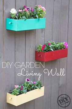 A DIY living wall for your garden can be enjoyable year round depending on the types of plants that you use in the containers.