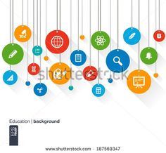 Abstract education background with lines, circles and icons. Hanged tags concept contains bell, school, science, calc, geography, biology, pencil and microscope icons. Vector illustration.