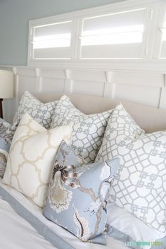 Windsor Smith Pelagos Mist, Schumacher Hothouse Mineral, Windsor Smith Riad Ivory in Master Bedroom New Pillows - Life On Virginia Street