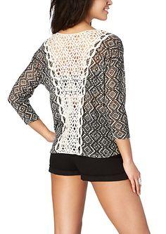 image of Crochet Back Tribal Diamond Sweater