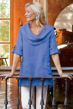 In the softest linen, our Mayfield Tunic has a generous, drapey cowl and three-quarter roll-tab sleeves. Available in both neutrals and brights!