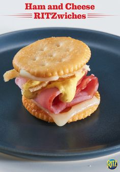Try our RITZ cracker Ham and Cheese RITZwich for a bite-sized spin on a classic sandwich. Top a tray of RITZ crackers with Swiss cheese. Cover half of the crackers with ham, a Dijon mustard-mayonnaise blend and fried onions. Bake until melted and sandwich the two cracker sides together. Perfect for welcoming your out-of-town guests!