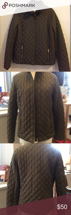 J.crew puffer jacket green army quilted The perfect spring and fall jacket. Sold out online. Polyester outer and polyester fill. Gold zippers. Size medium. Slightly boxy fit. 24 inches long. 30 inch sleeve J. Crew Jackets & Coats