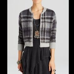 """Free People gray plaid zipper lined SweaterJacket Free People """"OH MY PLAID"""" zipper front lined Sweater Coat / Jacket This smokey-toned plaid cardigan by Free People brings a preppy-meets-punk-rock edge to your layering lineup. Stand collar, long sleeves, zip front closure, rib knit trim, lined in black, pink , turquoise & white paisley / floral satiny poly NEW WITH TAGS * SIZE: MEDIUM retail: $168.00  41% acrylic, 32% nylon, 18% wool, 8% alpaca, 1% spandex; 100% polyester. 21"""" from under arm…"""