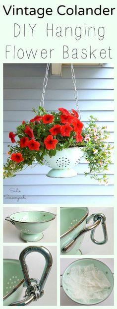 A vintage enamel colander in fun, pastel colors, with it's holes acting as built-in-drainage, is easy to repurpose into a DIY hanging flower basket! It's the perfect size for an upcycled planter, and looks glorious when hung on your front porch. Retro charm and Spring annuals- a perfect DIY project that anyone can do! #SadieSeasongoods / www.sadieseasongoods.com