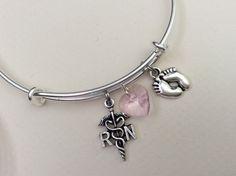 NICU RN Nurse Baby Feet Pink Crystal Heart Bracelet Adjustable Expandable Silver Wire Bangle Nurse Gift Handmade Trendy Custom