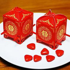 Asian Style Red Sedan Chair Favor Box (Set of 12) - USD $ 4.99