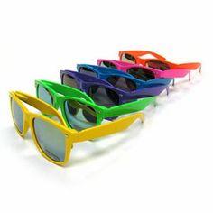 8d6b5a3788 Wayfarer Neon Plastic Sunglasses - Mirror Lens - Assorted
