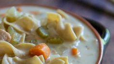 Creamy Slow Cooker Chicken Noodle #Soup #Recipe