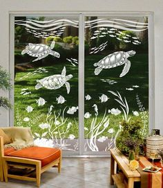 Enjoy the timeless beauty of etched glass and life under the sea with this scene of Sea Turtles visiting a tropical reef teaming with fish, coral, sea horses and more. A relaxing design that transforms a room with it's style and elegance. Etched Glass Door, Sliding Glass Door, Glass Etching, Glass Doors, Glass Design, Door Design, Stained Glass Window Film, Window Glass, Window Art