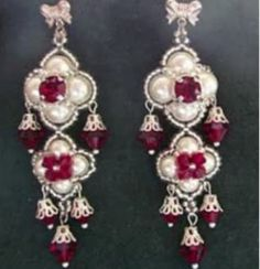 """Beading4perfectionists : """"The Queens Ruby's"""" ;-) Earrings beading tutorial for adv"""