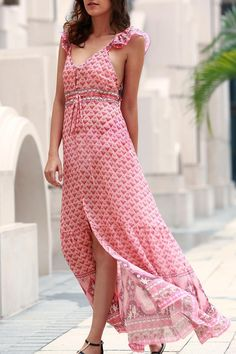 Tiny Floral Ruffle Strap Flowing Dress PINK: Print Dresses | ZAFUL