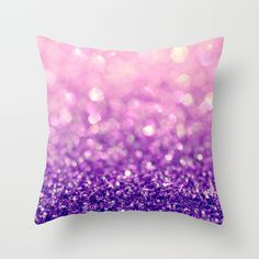 Fizzy Grape pink & purple glitter throw pillow