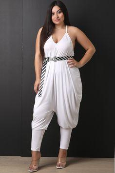 3827e66e258 Jersey Knit Belted Harem Jumpsuit Plus Size Jumpsuit
