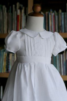 Simple First communion linen dress by finehandmadeclothing on Etsy