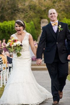 We love the look on a bride and groom's face as they recess from their wedding ceremony at The Sonnet House. Photo by Alisha Crossley Photography