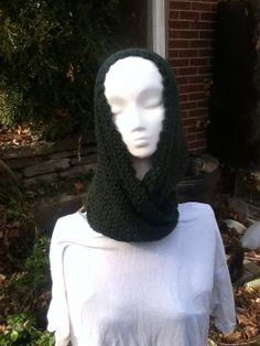 Crochet Cowl Deep Green by SunwynsSundries on Etsy