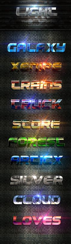 Light Text Effect Styles for Photoshop