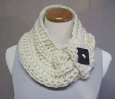 Chunky Bulky Button Crochet Neck Warmer Cowl:  Creamy Off White Beige with Square Black Button on Etsy, $22.00