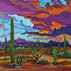 Choose your favorite arizona. desert landscape paintings from millions of available designs. All arizona. desert landscape paintings ship within 48 hours and include a money-back guarantee. Desert Colors, Desert Art, Cactus Painting, Cactus Art, Cactus Plants, Landscape Art, Landscape Paintings, Landscapes, Desert Landscape