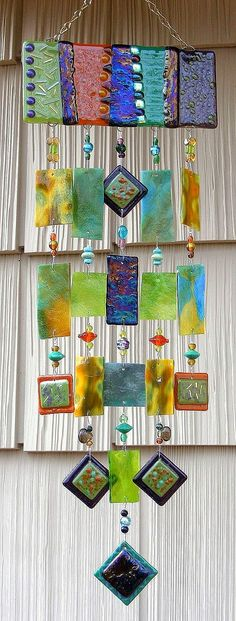 Kirk's Glass Art fused and stained glass windchimes Fused Glass Art, Mosaic Glass, Stained Glass, Glass Wind Chimes, Pony Beads, Mobiles, Glass Design, Suncatchers, Yard Art