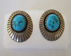 Lovely Vintage NAVAJO Sterling Silver & TURQUOISE Oval Concho EARRINGS, TurquoiseKachina, $53.10