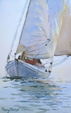 Three Sails by Poppy Balser Watercolor ~ 10 x 7