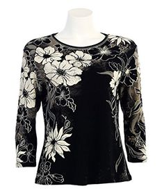 Jess N Jane Flora Image Dressy Ladies Rhinestone Tee Shirt Top Black >>> Check out the image by visiting the link.