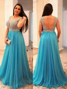 Cute Prom Dresses, A-Line/Princess V-neck Sleeveless Beading Sweep/Brush Train Chiffon Plus Size Dresses Shop plus size prom dresses and full figured formal gowns with an affordable price. Blue Plus Size Dresses, Evening Dresses Plus Size, Prom Dresses For Teens, Backless Prom Dresses, Mothers Dresses, Prom Dresses Blue, Cheap Prom Dresses, Dance Dresses, Chiffon Dresses