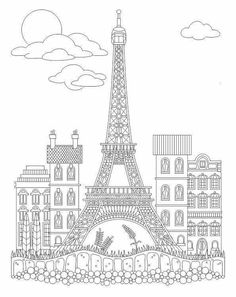 French Coloring Books for Adults Beautiful Advanced Coloring Eiffel tower Coloring Page Free Adult Coloring, Adult Coloring Book Pages, Cute Coloring Pages, Coloring Books, French Crafts, Relaxing Art, Mandala Drawing, Thinking Day, Pen And Watercolor