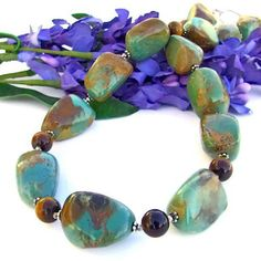 Handmade Chunky American Turquoise Necklace Tigers Eye Gemstones by ShadowDogDesigns --- Jewelry on ArtFire.  Lovely!