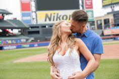 Engagement Photo Shoot Citi Field  PhotoCredit: Vanessa Guevara Photography   #EngagementPhotos #Wedding #CitiField #MLB #Ballpark #Baseball #Engagement #Photography #Mets #Kissing #love #KissingPhoto